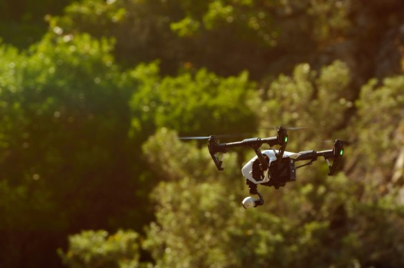 Flying with an Inspire Cinematography drone for video and photo productions.